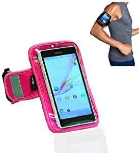 Navitech pinkes wasserfestes Neopren Fitness/Joggen/Lauf Armband mit Reflectorstreifen (Huawei Ascend P6)