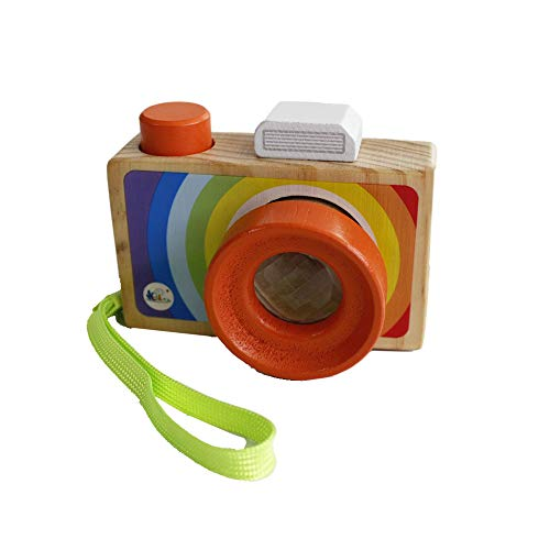 Gobus Cartoon Mini cámara de Madera de Juguete con múltiples Prisma caleidoscopio Fotos Lente cámara portátil para niños pequeños (Llevar en la Mano)