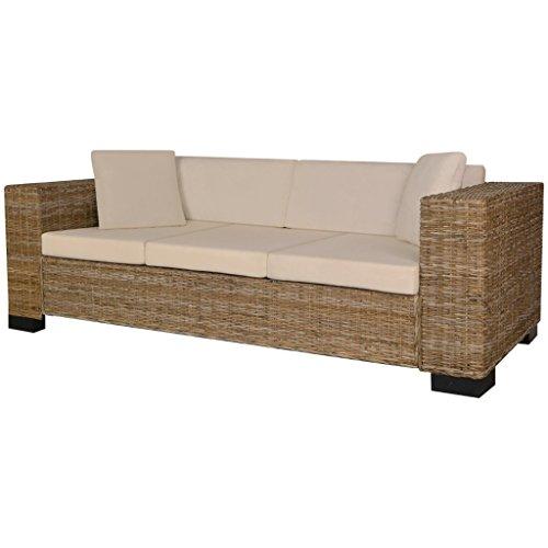 vidaXL Sofa Set 8-tlg. Rattan 3-Sitzer Couch Loungesofa Wohnmöbel Büromöbel Echt