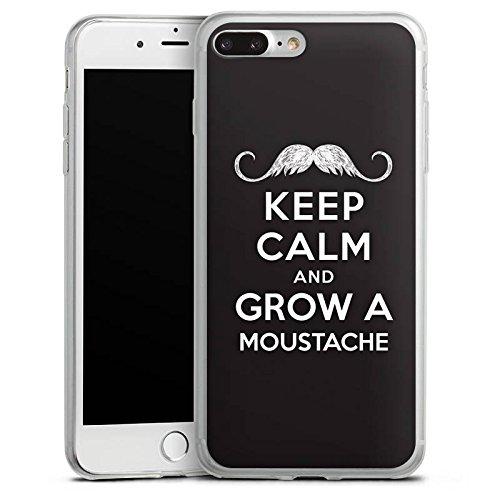 Apple iPhone 8 Slim Case Silikon Hülle Schutzhülle Keep calm and grow a moustache Sprüche Statement Silikon Slim Case transparent