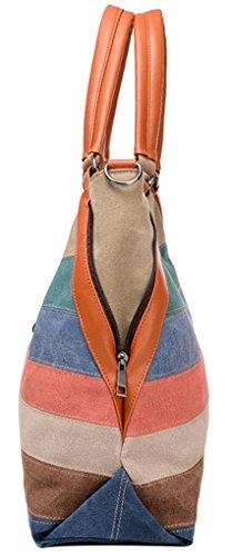Longzibog Dual verstellbare Schultergurte und Hängeschlaufenband Mode Simple Style Fashion Tote Top Handle Schulter Umhängetasche Satchel Mehrfarbig