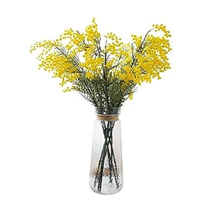 LXESWM Mimosa Flores Artificiales Acacia Ramo Decoraciones Florales Decoración del hogar Ramo de Boda Jardín Cocina Interior al Aire Libre (4 Piezas)