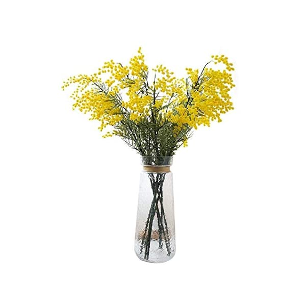 LXESWM Mimosa Flores Artificiales Acacia Ramo Decoraciones Florales Decoración del hogar Ramo de Boda Jardín Cocina Interior al Aire Libre (4 Piezas) (Color : Red)