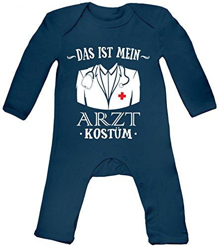 Monat 12 18 Kostüm Arzt - Shirt Happenz Kostüm Arzt Babybody | Verkleidung | Karneval | Fasching | Langarm | Langärmliger Strampler, Farbe:Blau (Nautical Navy BZ13);Größe:12-18 Monate