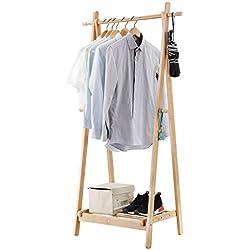 LANGRIA Portant Sèche-Linge à Vêtements Pliable fait en Bois de Bambou avec 1 Tige et 4 Crochets Latéraux Conception en Forme de A, Capacité 20 (Couleur Bambou Naturel)