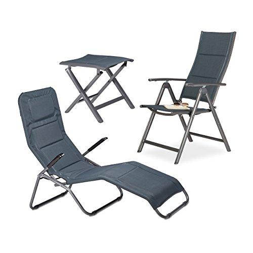3 teiliges Garten Relaxset, gepolstert, Bäderliege Kippliege, klappbarer Gartenstuhl mit verstellbarer Lehne, Klapphocker