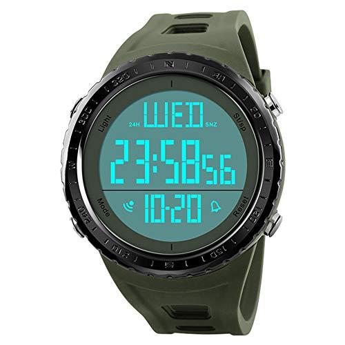 Skmei Reloj Hombre Militar Verde Grande Resistente Al Agua y Golpes Digital Deportivo Marca Reloj para Camping Hiking Natación