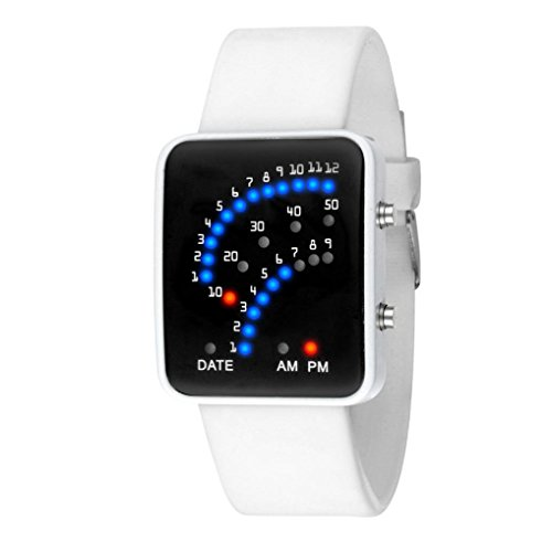 Amlaiworld Futuristische japanischen Stil Multicolor LED Sport Armbanduhr (weiß)