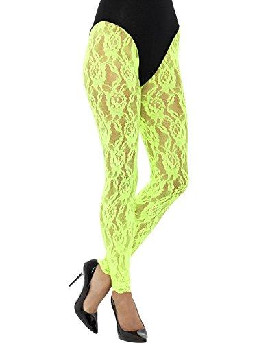 Smiffys, Damen 80er Jahre Spitzen Leggings, One Size, Neon Grün, (80er Jahre Leggings)