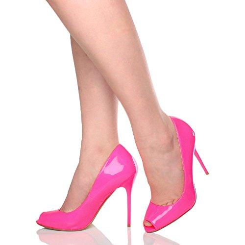 Sapatos Toe Senhoras Pintura Elementar Salto Espreitadela Rosa Grupo Tamanho Trabalho Neon Salto De Alto Fúcsia Sandals HYrHwq08