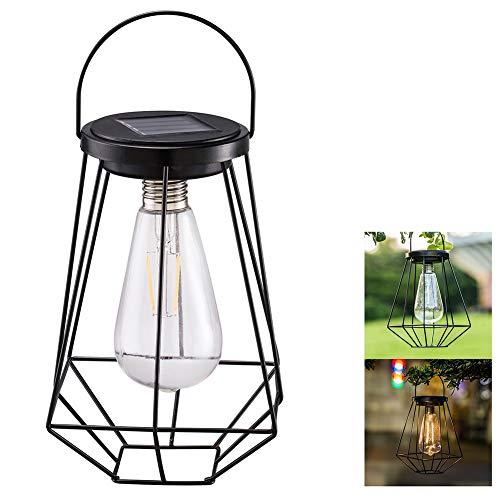 Eisen Outdoor-hängenden Laterne (LHY LIGHT Vintage Solar Laternen Outdoor hängen Eisen Net Filament Tisch Garten Licht geometrische rostfreie Hof Lampe Camping dekorativ)