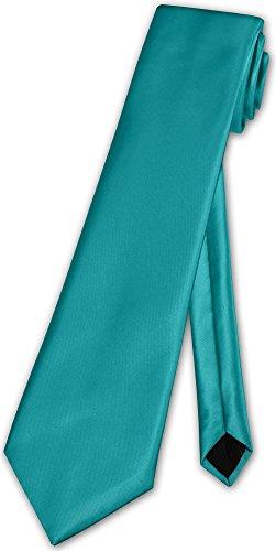 Herren Krawatte klassisch O.T. Klassik Anzug Satinkrawatte - 35 Farben (Hell Petrol)