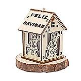 SPFAZJ Weihnachten Haus Santa Claus leuchtende Holzchalet Anhänger Holzhaus Weihnachtsdekoration Lieferungen Ornamente