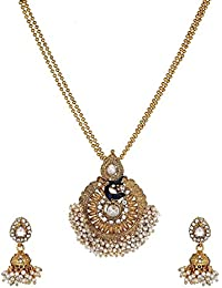 Aabhu Gold Plated Long Peacock Design Pendant Necklace Jewllery Set Haram Mala With Earrings Jewellery For Women...