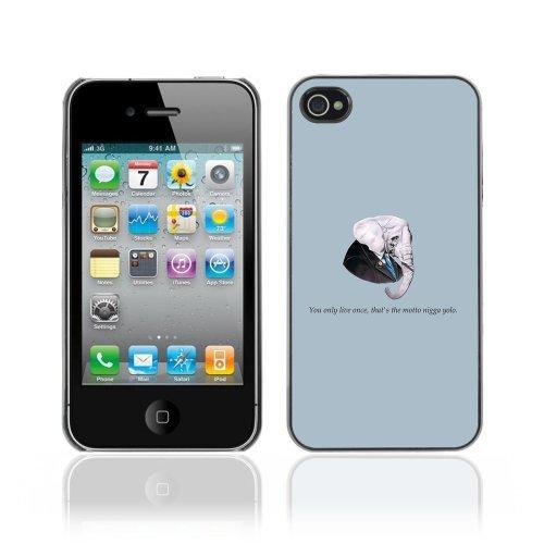 ouucase Coque rigide pour iPhone 4/4S-Funny Gangsta éléphant Message DIY HD Housse PC Pour New Design