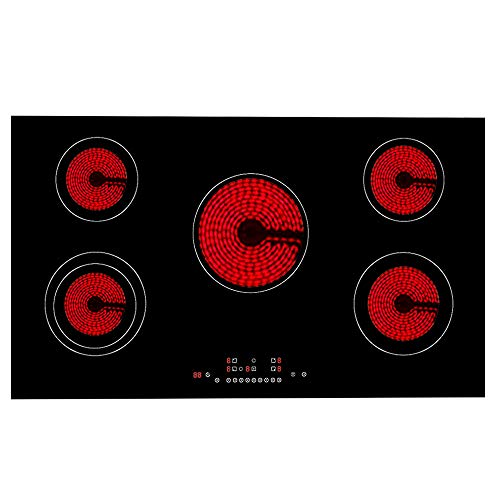 41P4eg6nYIL. SS500  - Electric Ceramic Hob, Built-in Electric Hob with Sensor Touch Controls Electric Stove Cooktop with Heat Protection | 5 Cooking Zones 8600W 90cm Black