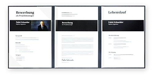 5 Stück 3-teilige Bewerbungsmappen Lemani® PRESTIGE in navy black mit 2 Klemmschienen // in 1A-Premium-Qualität mit hochwertiger Prägung '' BEWERBUNG '' // direkt vom Hersteller STRATAG // Produkt-Design von '' Mario Lemani ''
