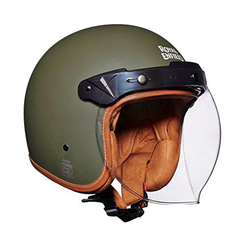 Royal Enfield Bobber HEAW17001 Open Face Helmet (Battle Green, M)