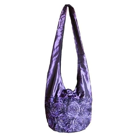 BTP! Thai Silk Sling Crossbody Tasche Kuriertasche, Handtasche Hobo Boho Hippie mit Rosette, (Rosette Sling)