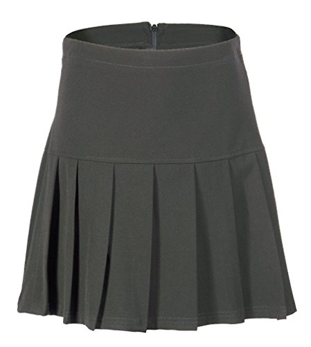 (UK 6 - 24) Girls Ladies School Drop Waisted Pleated Skirt Formal in Black Grey & Navy