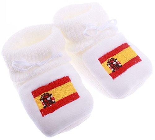 Chaussons bébé brodés drapeau Espagne Happy baby Blanc 0/3mois Blanc