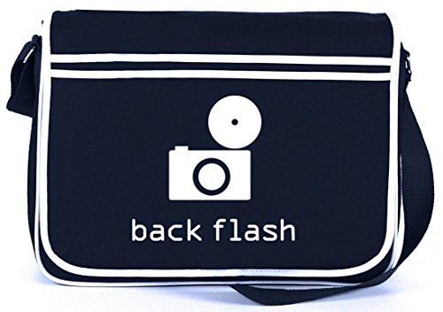 Shirtstreet24, BACK FLASH, Kamera Retro Messenger Bag Kuriertasche Umhängetasche Navy