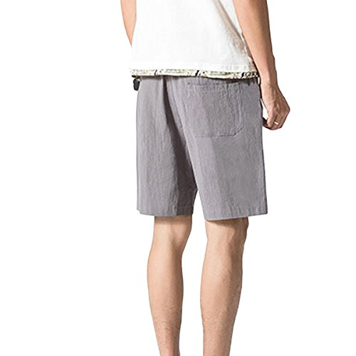Herren Sommer Cargo-Shorts kurz Cargo Hose Leinen Baumwolle Größe elastisch Sport-beiläufige Freizeithose Arbeitshose Grau