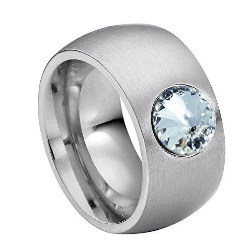 Heideman Damen-Ring coma 11 glanzmatt Gr.62 Swarovski kristalle crystal 8mm Edelstahlring silbern mit Stein Zirkonia Edelstein Edelstahl Größe 62 (19.7) - Größe 11 Damen-verlobungsringe,