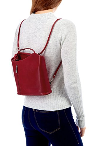 LiaTalia Damen großartige weiche italienische Leder Piping Detail Schulter oder Rucksack Tasche mit Schutztasche - Libby z** (Nicht Piping) - Marine