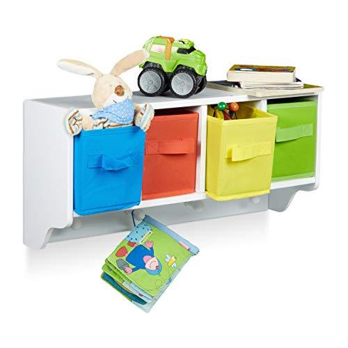 Relaxdays Kinder Wandregal ALBUS, Wandgarderobe mit 4 Kleiderhaken, Kinderregal mit 4 bunte Faltboxen, HBT: ca. 28 x 61 x 16 cm, weiß -