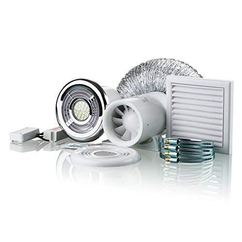 Blauberg UK Ducto-Badezimmer Dusche Fan Kit 100mm mit Timer & LED-Licht -