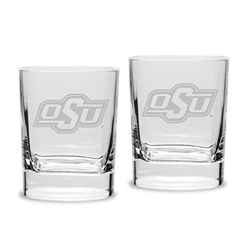 NCAA Oklahoma Sooners Luigi Bormioli Square Round Double Old Fashion Glass - Set of 2, Clear, 11.75 oz Square Double Old Fashioned