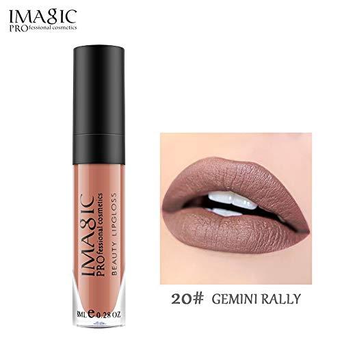 IMAGIC Professional Cosmetics Beauty Lipgloss Feuchtigkeitscreme Wasserdicht Langlebig Flüssiger Lippenstift 8 ML 0.28 OZ 20#