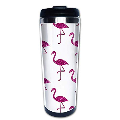 QIUJUAN Sparkly Flamingo Fashion Office Mug 400 Ml Portable Coffee Travel Mug For Men Women Stainless Steel Tumbler Cup (Keurig Portable)