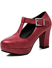 Cabeza redonda impermeable t Taiwán gruesas con tacón alto de singles femeninos zapatos, rojo,42