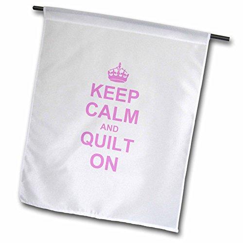 3dRose FL 157760_ 5,1cm Keep Calm und-Quilt auf-Carry On Steppung-Quilter Geschenke-Pink Garden Flagge, 45,7x 68,6cm -