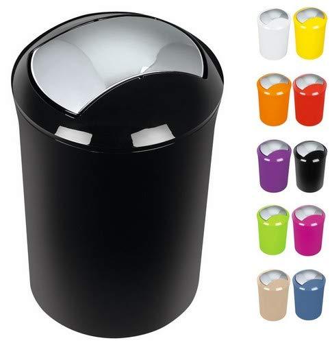 """Spirella Design Kosmetikeimer 10.14388 \""""Sydney\"""" Bad Treteimer Schwingdeckeleimer Abfallbehälter mit Schwingdeckel 5 Liter (ØxH): 19 x 30 cm Schwarz"""
