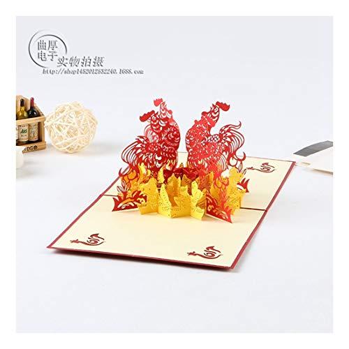 ZHOUBIN 2 fogli/set Carving And Hollowing Out 3D Cards/Greeting Cards/Regali di Natale Capodanno/Auguri di compleanno/Golden Gallo
