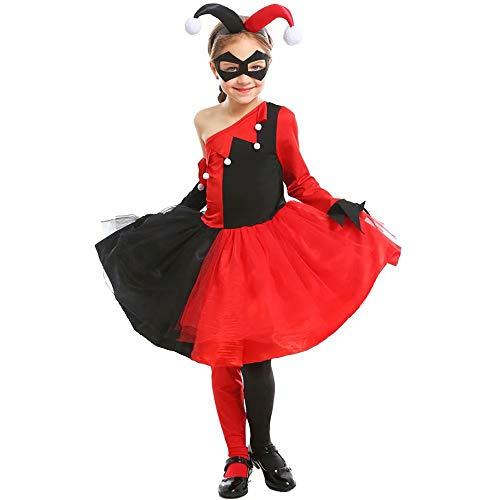Alisoya Niedlich Clownskostüm für Frauen/Mädchen Halloween Kostüm Sexy Harlekin Halli Quine Unregelmäßiger Geometrie Semi-Schulter-Kleid