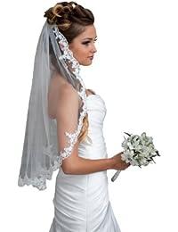 Voile de mariée longueur coude une couche, décoré à la main, avec dentelle et perles de verre sur les bords