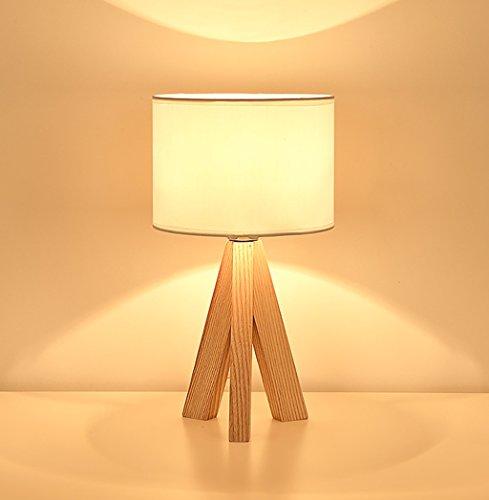 Lampe De Table Tripode Ronde Simple Lampe De Bureau Lampe De Table Minimaliste En Bois Massif Lampe De Chevet (Color : White)