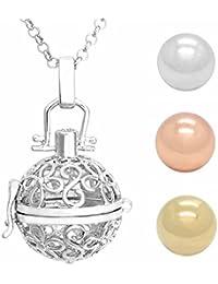 Jovivi Collier Pendentif Ouvrir Ciselé Grossesse Avec Chaine Fleurs Argent + 3pcs Grelots Argent / Or rose / Or Boule16mm