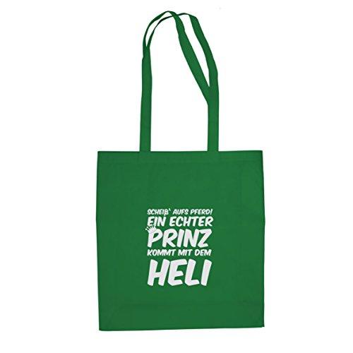 Ein echter Prinz kommt mit dem Heli - Stofftasche / Beutel Grün