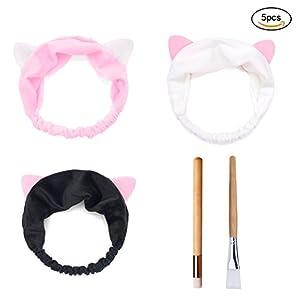 Mädchen Katzenohren Stirnband, Make-up Stirnbänder für Frau mit Nase Reinigungsbürste und Gesichtsmaske Pinsel
