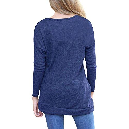 Semen Femme Tops Manches Longues Tunique Lâche avec Boutons T-shirts Blouse Col Rond Casual Bleu Marine
