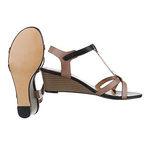 Keilsandaletten Damenschuhe Plateau Keilabsatz/ Wedge Keilabsatz Schnalle Ital-Design Sandalen / Sandaletten Braun Schwarz