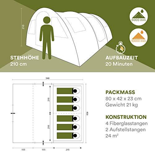 Skandika Gotland 6-Personen Tunnel-/Familienzelt, 2 Schlafkabinen, 5000mm Wassersäule, 210cm Stehhöhe - 6