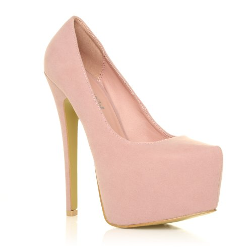 DONNA Scarpe donna tacco alto stiletto e piattaforma colore rosa bimba scamosciato rosa bimba scamosciato