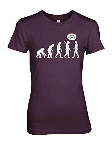 Human Evolution Komisch Humanity Sarcastic Damen T-Shirt Lila