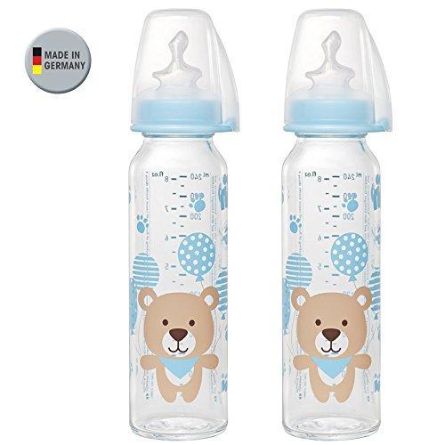 NIP Glas Flasche Boy // 2er Set // Glas-Babyflasche // Standardglasflasche 250 ml // Trinksauger Größe M (Silikon / Milch / ab 0 Monate)